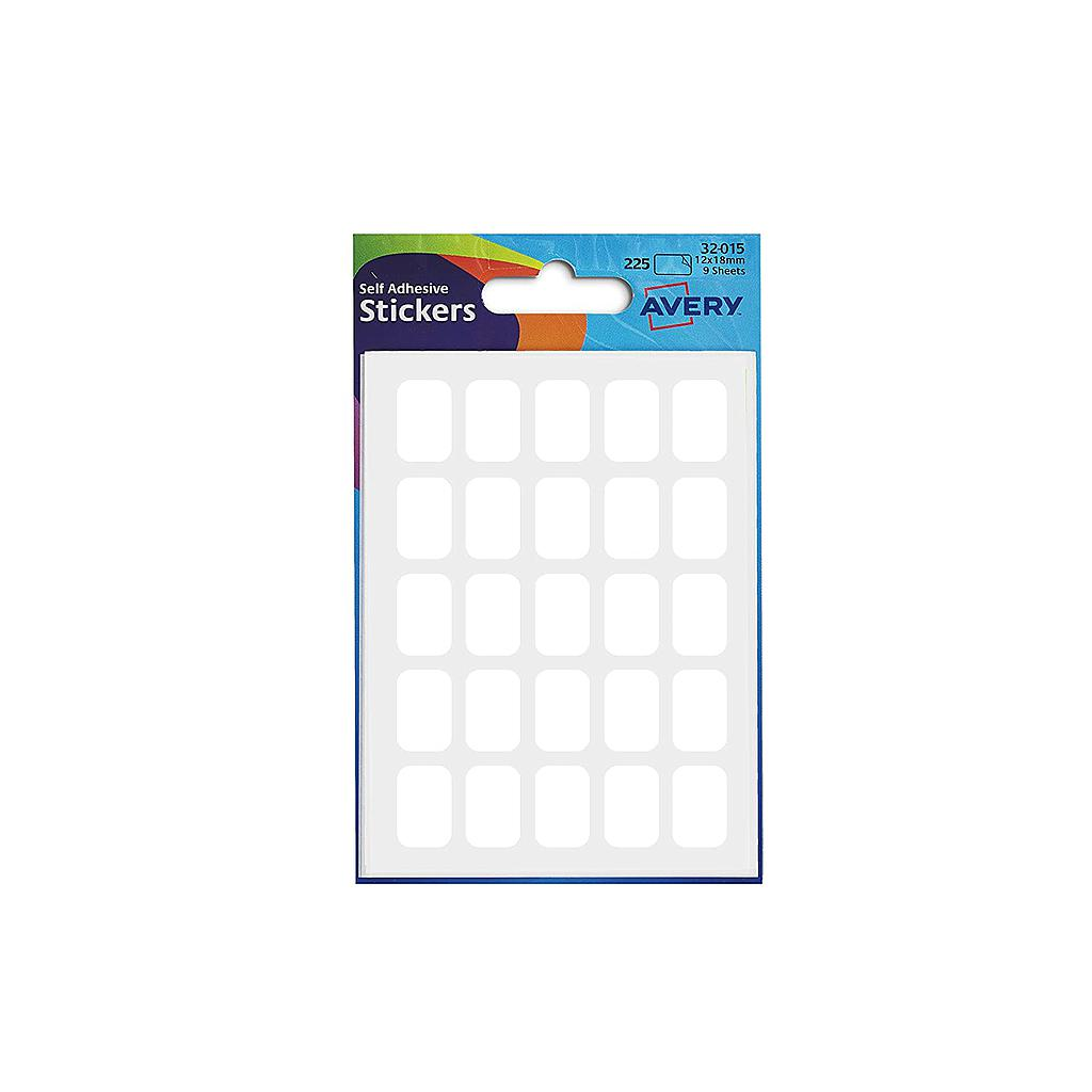 Avery Stickers 32-015 White, 12X18 Mm, 225 Rectangular