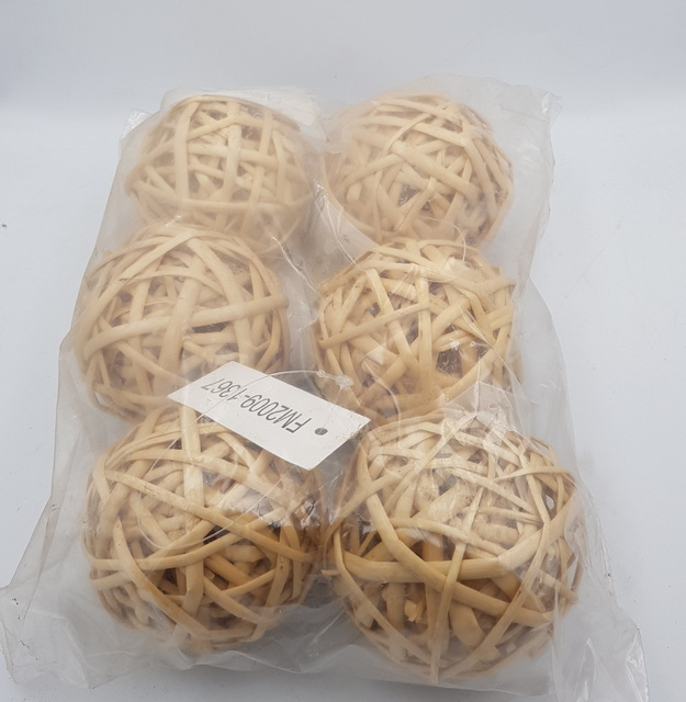 Beige Wicker Rattan Balls Home Christmas Wedding Party Decorative Crafts 6Pcs